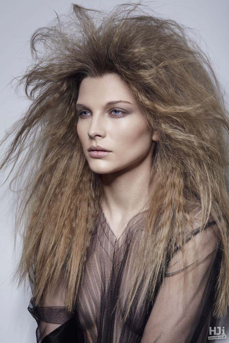 Crimped and backcombed style with lots of texture
