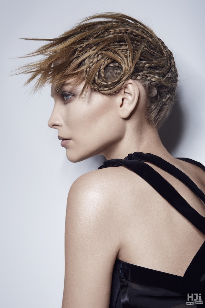 Short braided style with spiky fringe effect