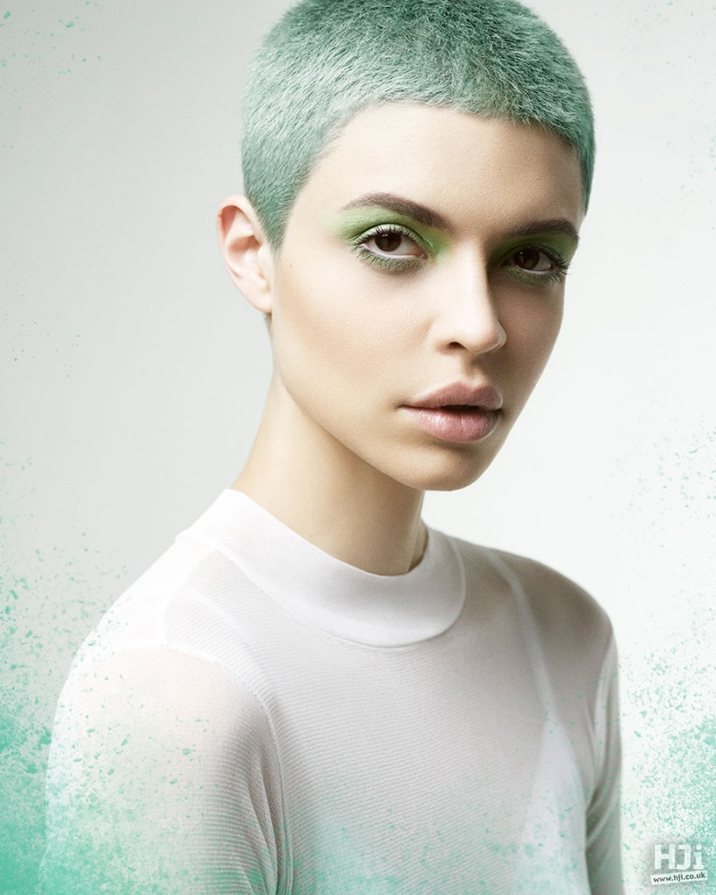 Bright green crop hairstyle