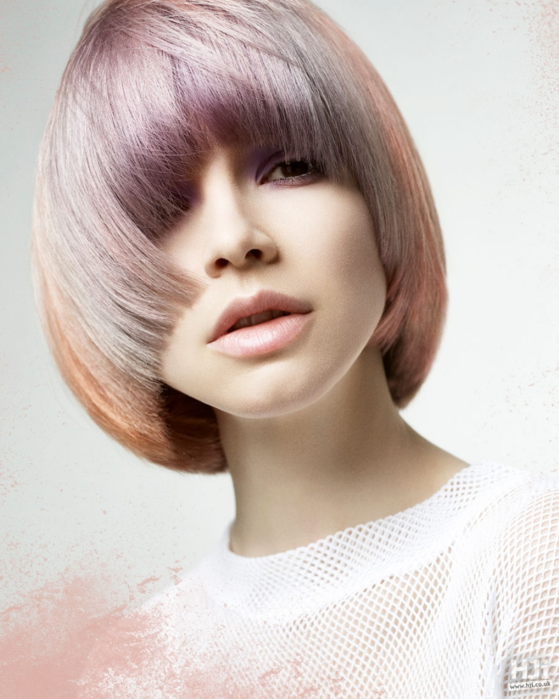 Creative colour [violet, grey, peach] bob with eyelash skimming fringe hairstyle