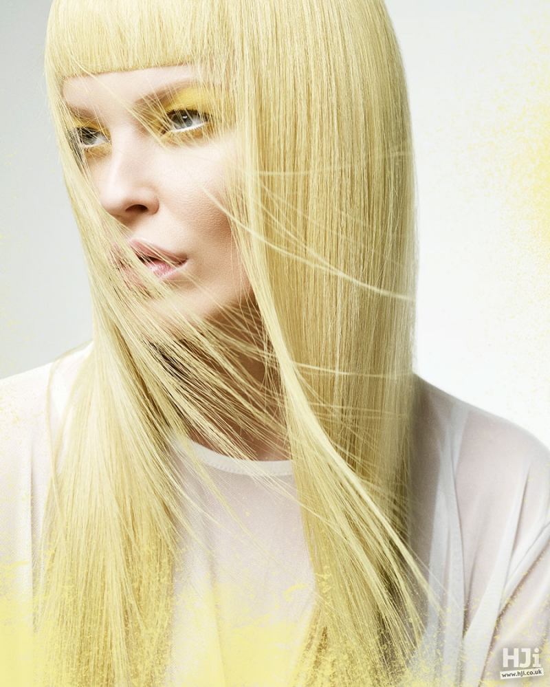 Long bright yellow hairstyle with short fringe