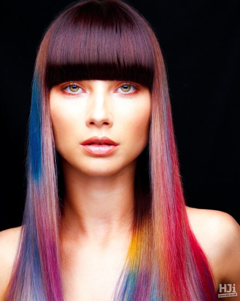 Brunette fringe with creative colour lengths