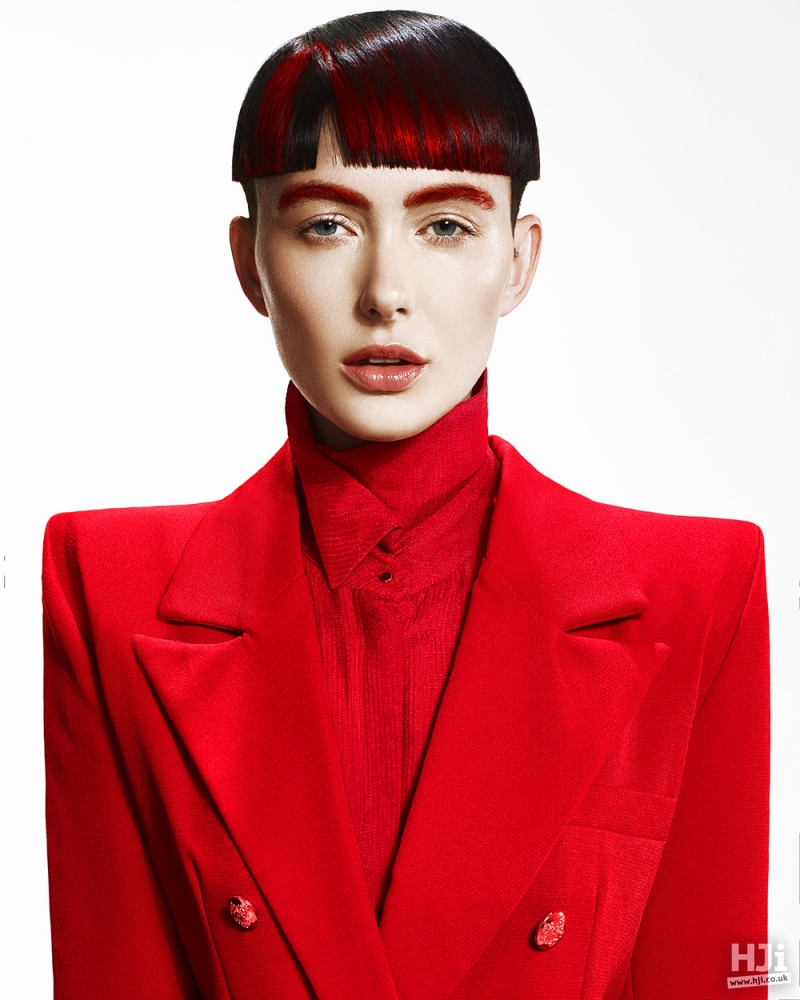 Carefully parted short and sleek