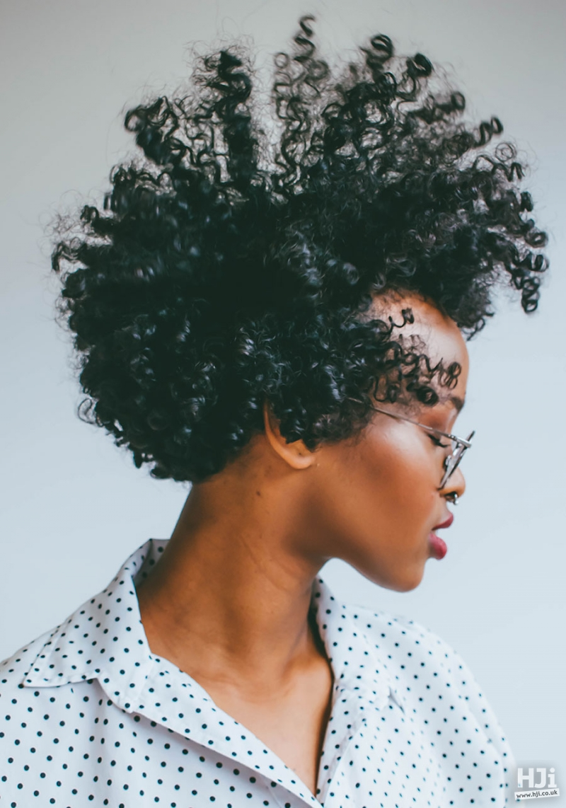 Short, black, afro tight curl style