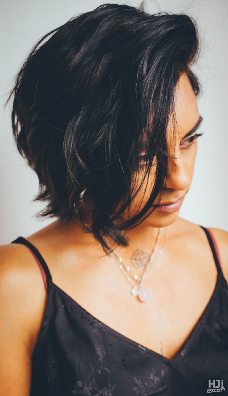 Short, brunette natural cut