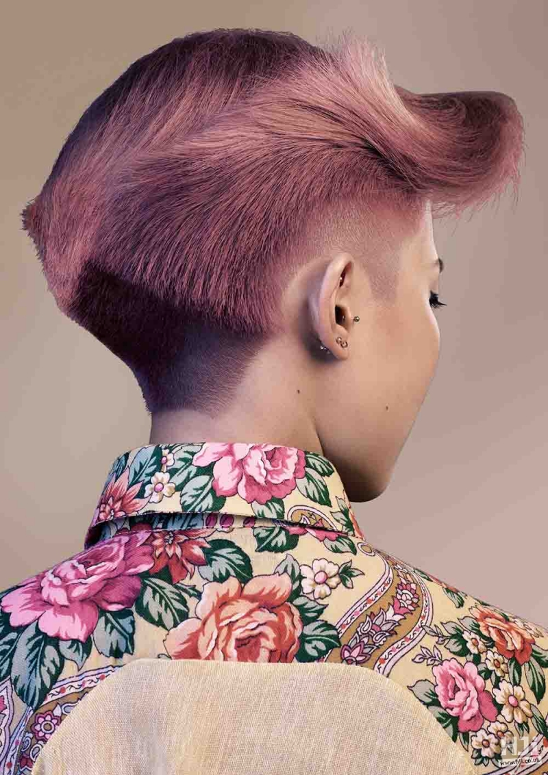 Pink pompadour with sweeping fringe