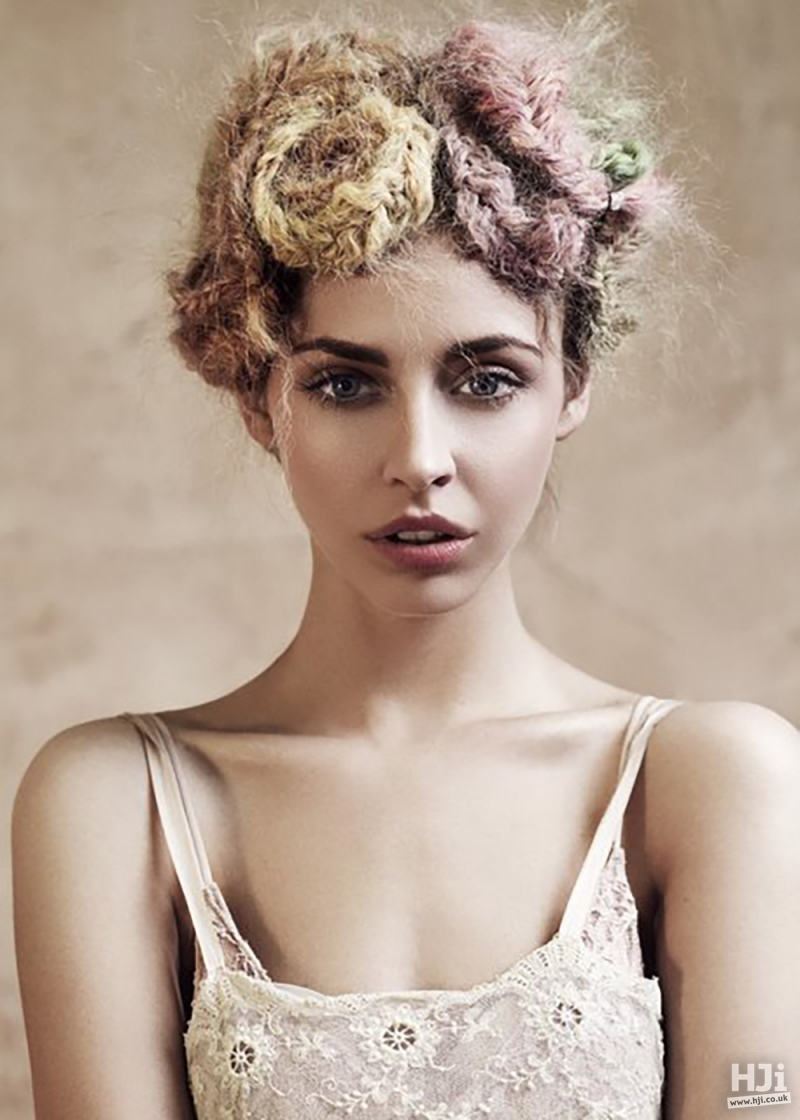 Creative updo with accessories