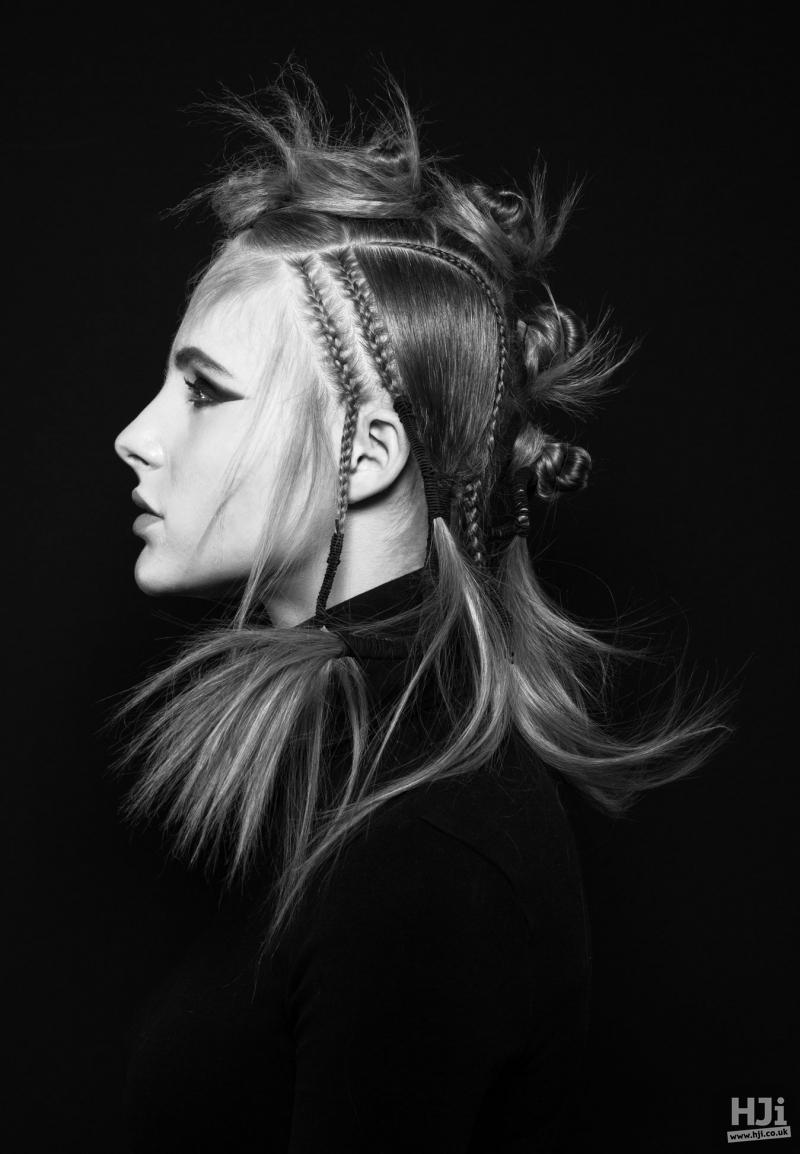 Bun style with braids