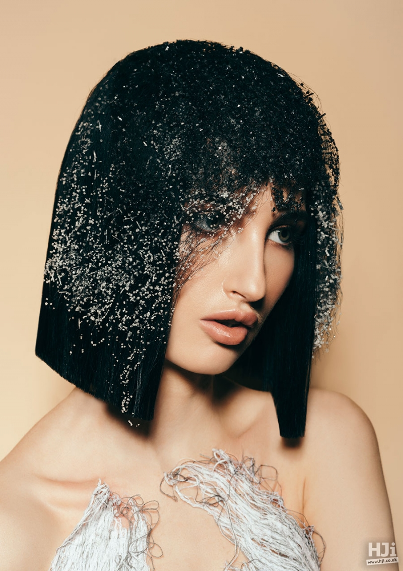 Avant garde speckled short bob in black