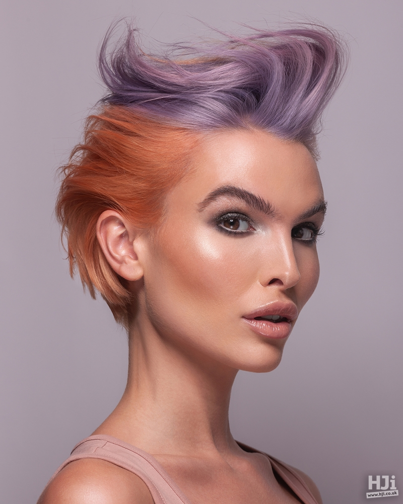 Lilac and peach quiff