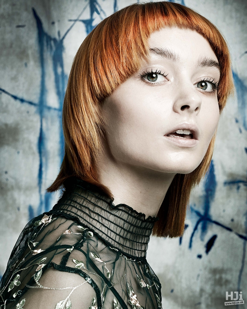 Redhead with short fringe