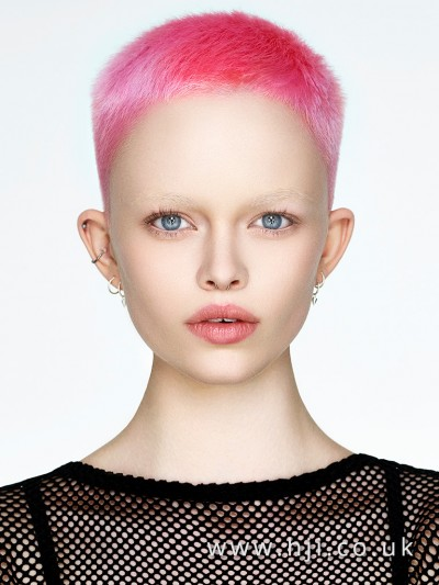 Dramatic pink crop hairstyle