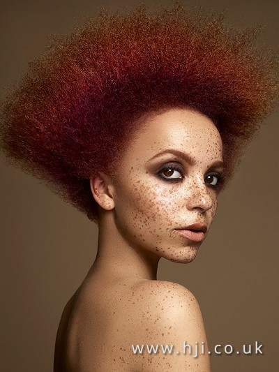 Redhead afro hairstyle