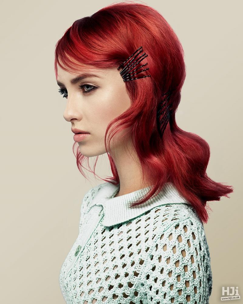 Mid-length red hair