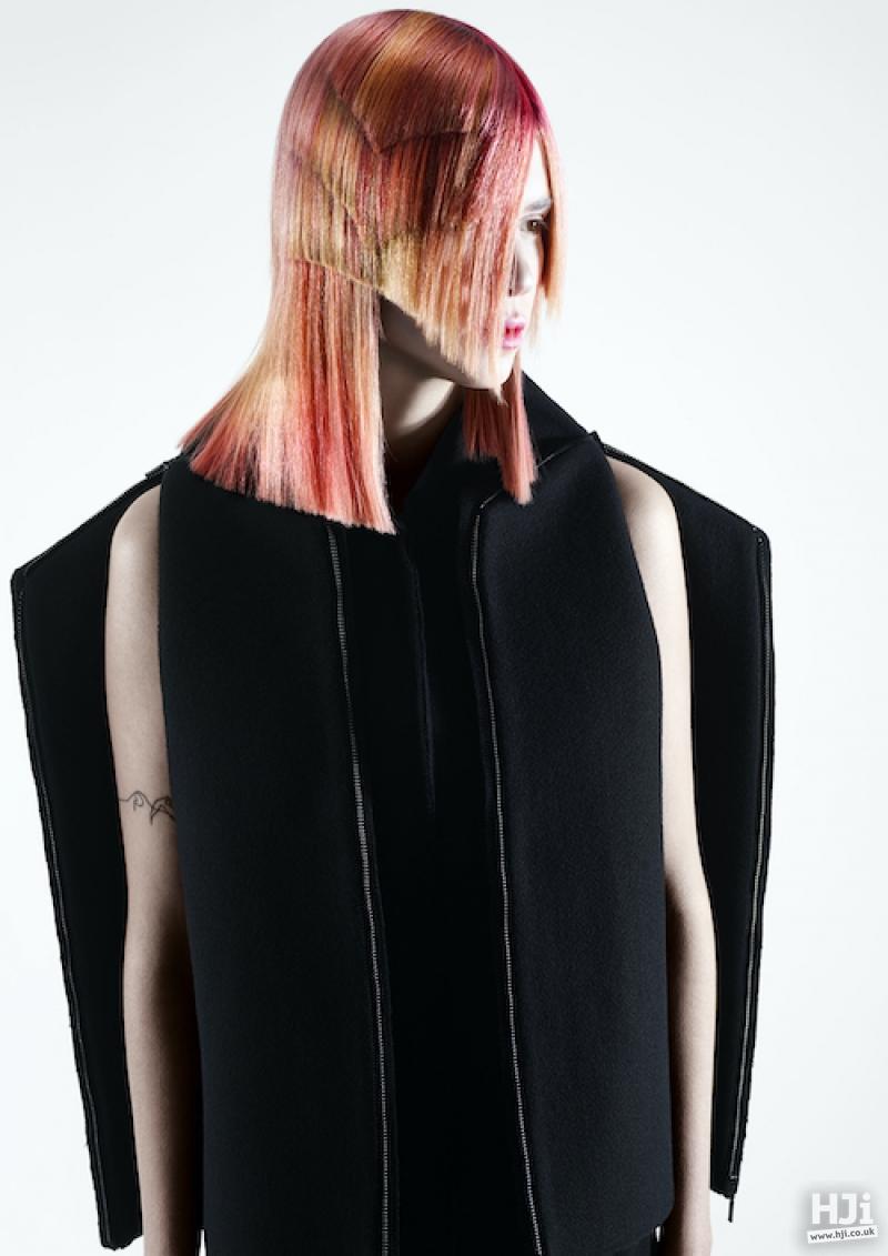 Rose gold mid length asymmetric style