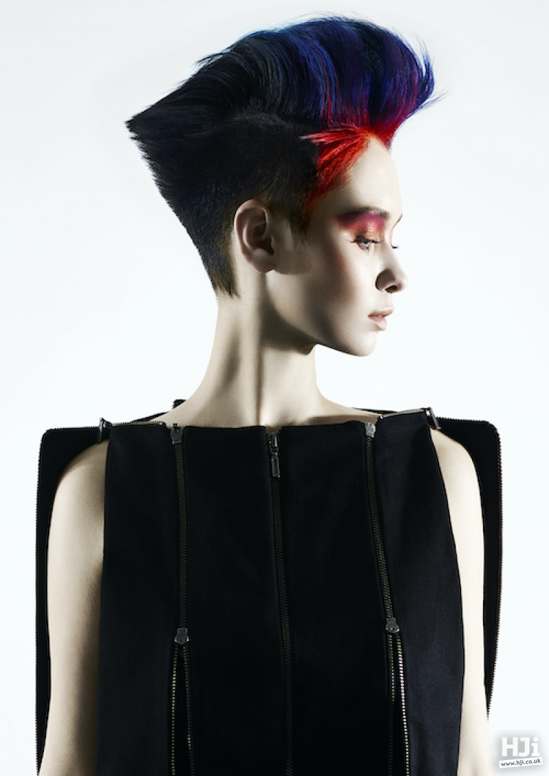 Blue and red mohawk