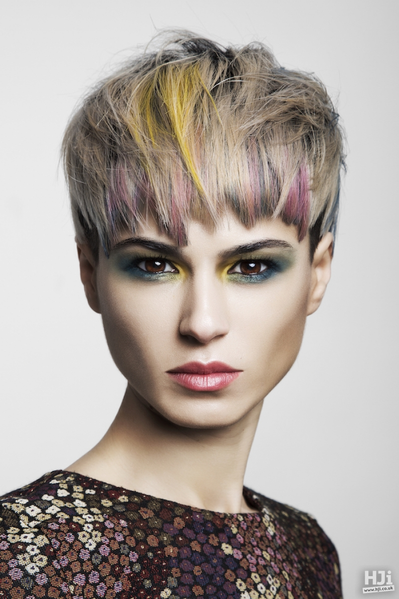 Silver crop with fringe and creative yellow and pink highlights