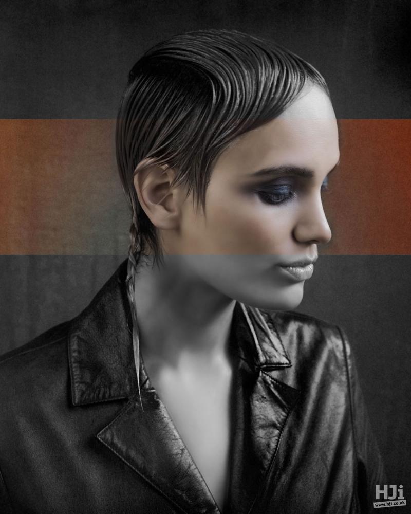 Sleek fringe on short hair