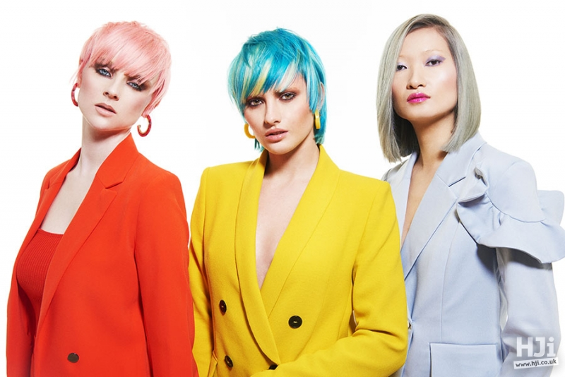 Left to right: Short pixie crop in light pink with an eyelash skimming fringe ; Sleek short bob in green and light blue peekaboo panels with a sweeping fringe ;