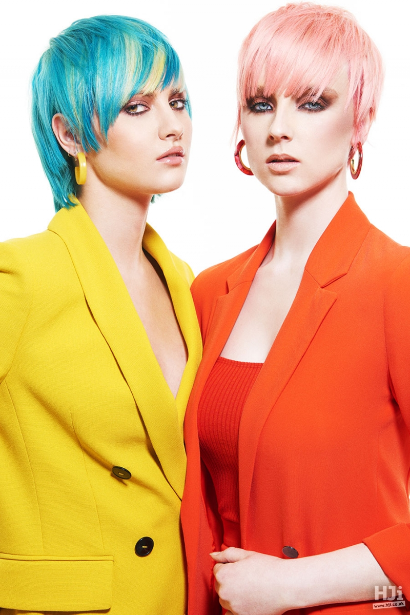 Left to right: Sleek short bob in green and light blue peekaboo panels with a sweeping fringe ;  Short pixie crop in light pink with an eyelash skimming fringe
