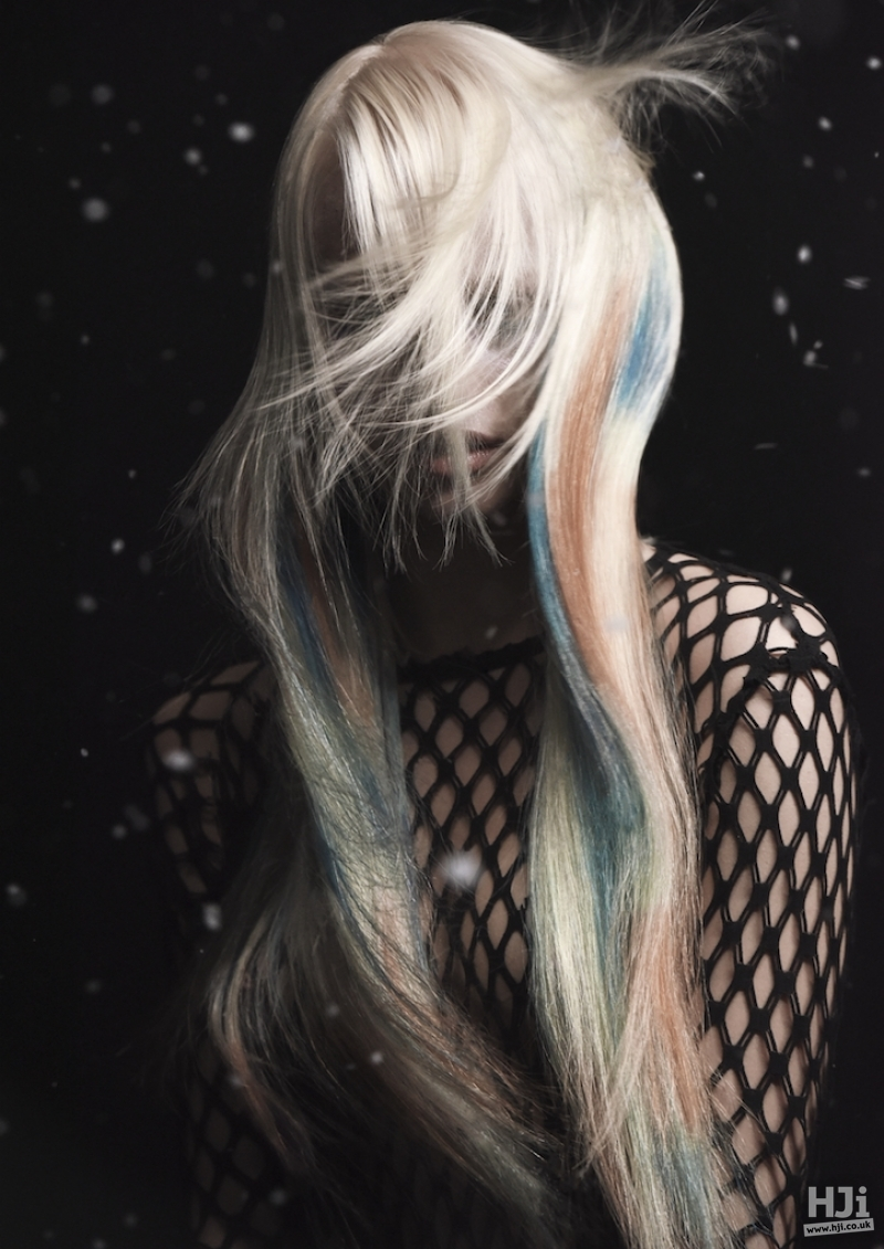 Long blonde style with creative colour panels