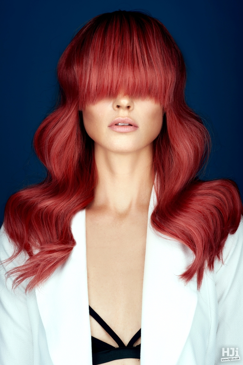 Long red fringe and waves