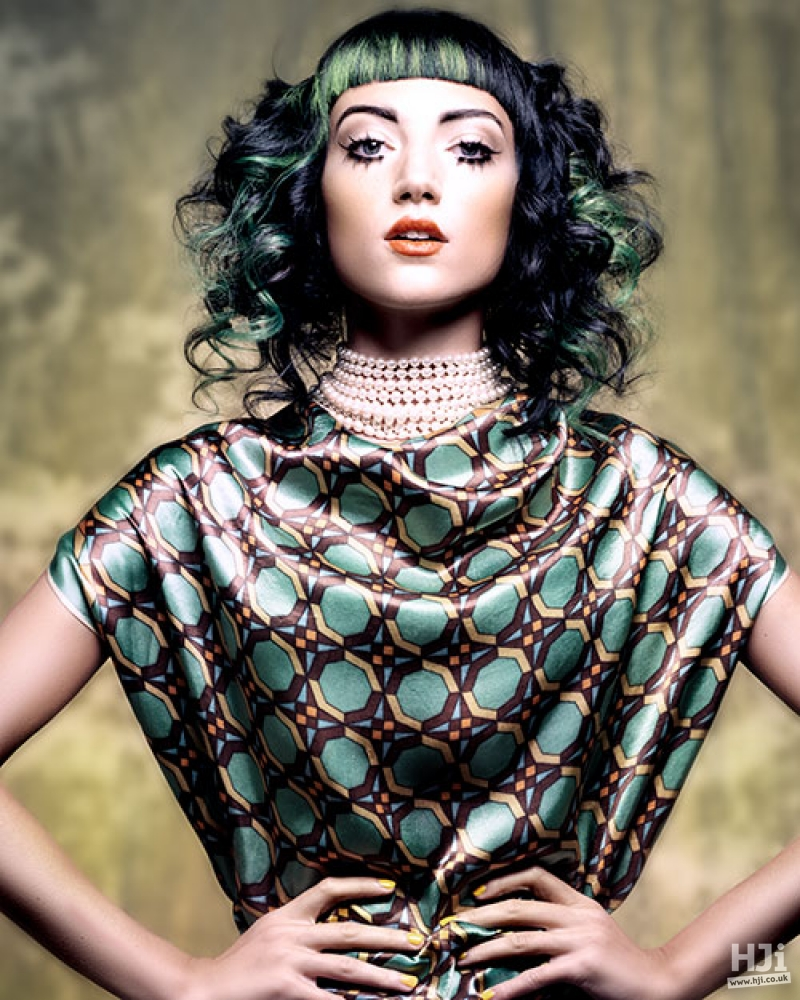 Black and green curly style