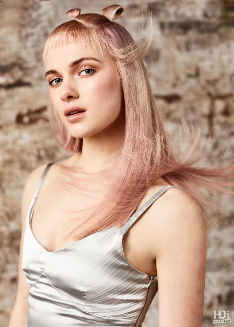 Light pink mid-length hair with micro fringe and double buns