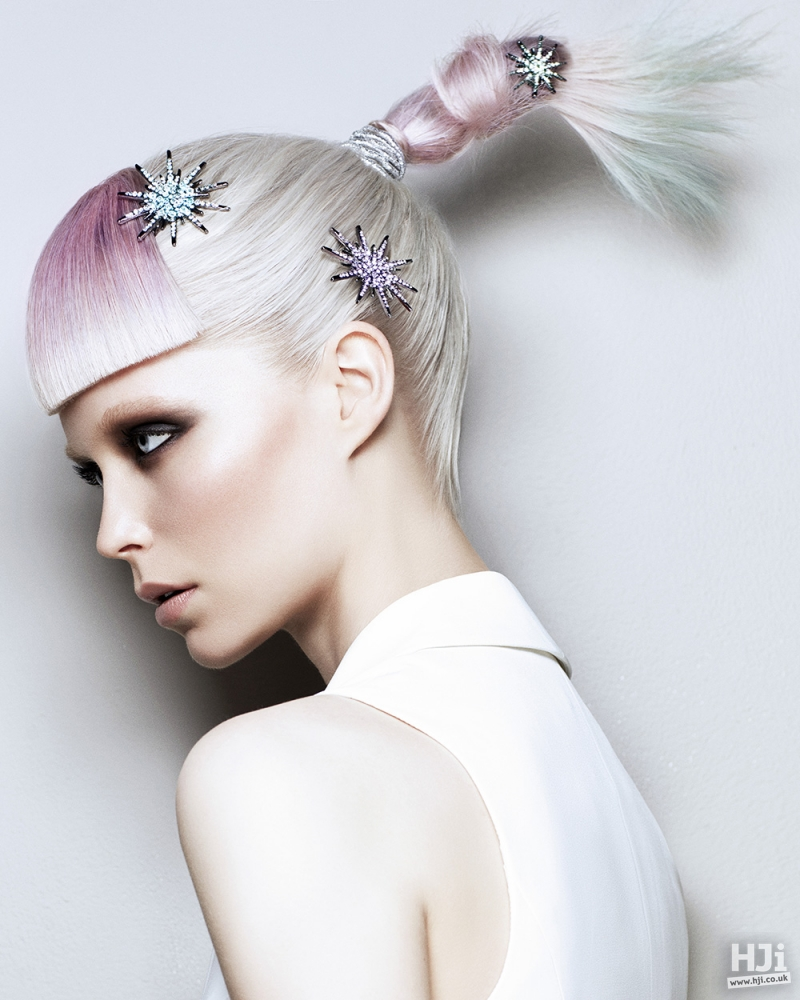 Creatively coloured high ponytail