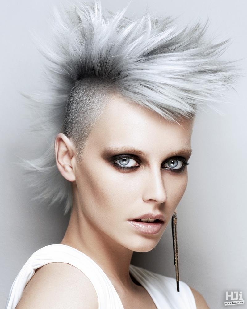 Spiky silver mohawk