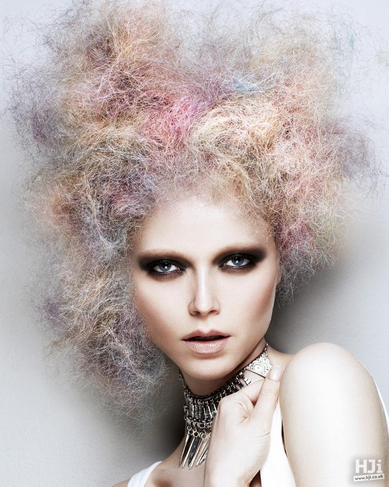 Multi-coloured frizzy updo