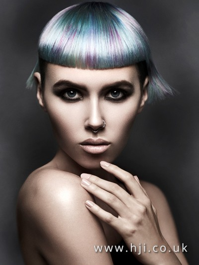 Silver and violet modern bowl cut