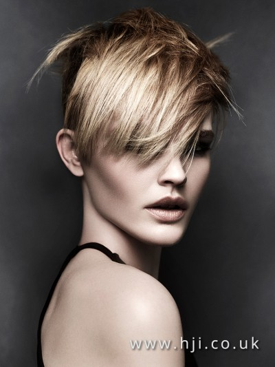Crop hairstyle with a heavy fringe