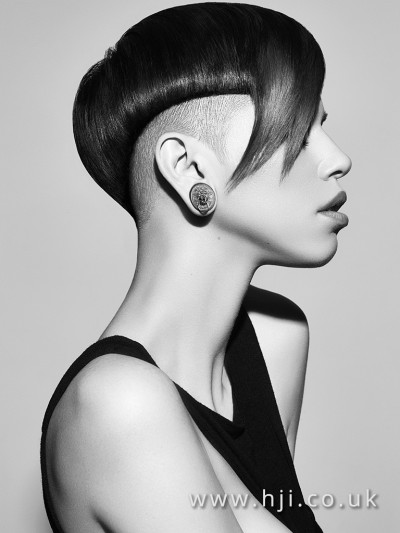 Short hairstyle with an undercut and dramatic asymmetric fringe