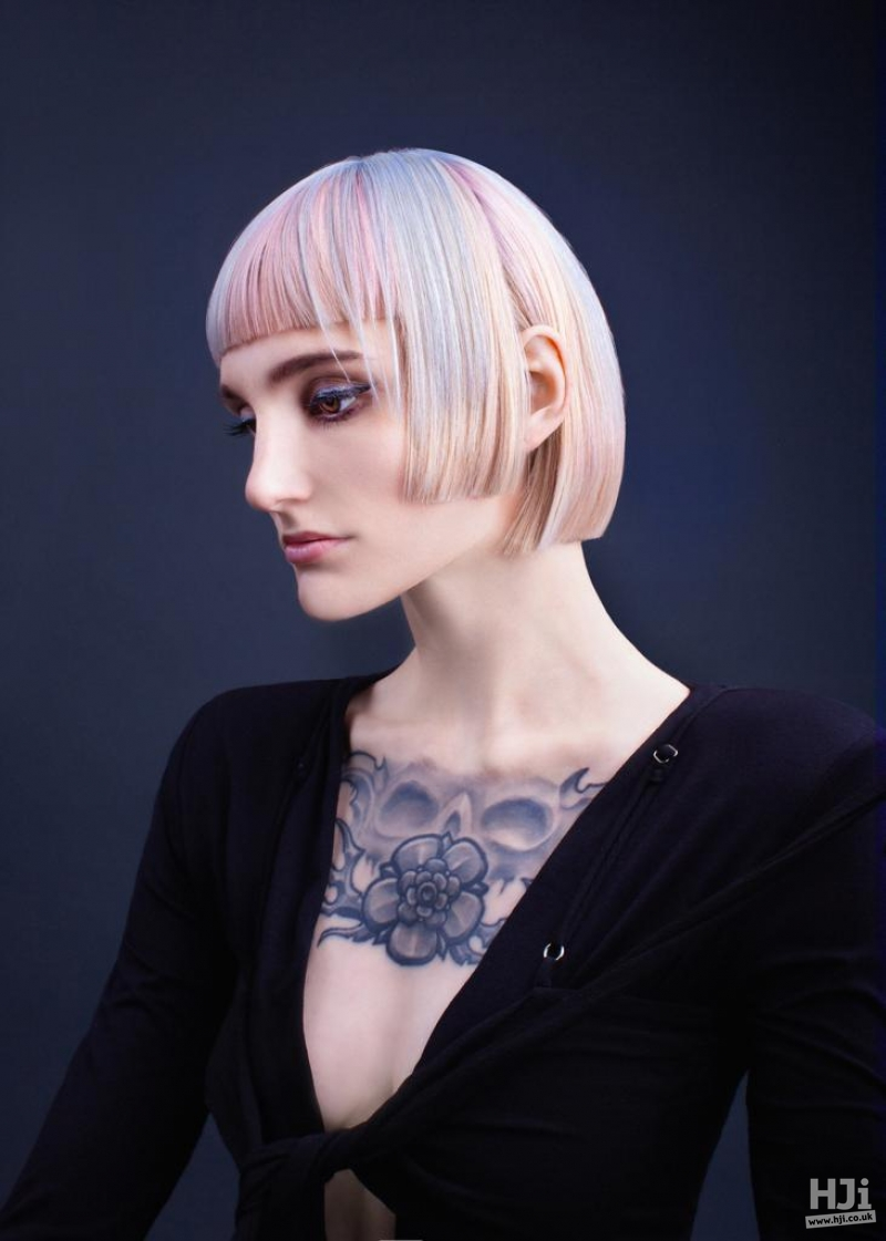 Short bob and fringe with pastel highlights