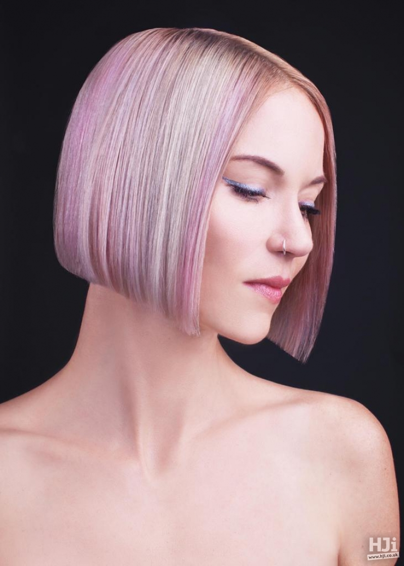 Short side-parted bob with lilac and pink colour