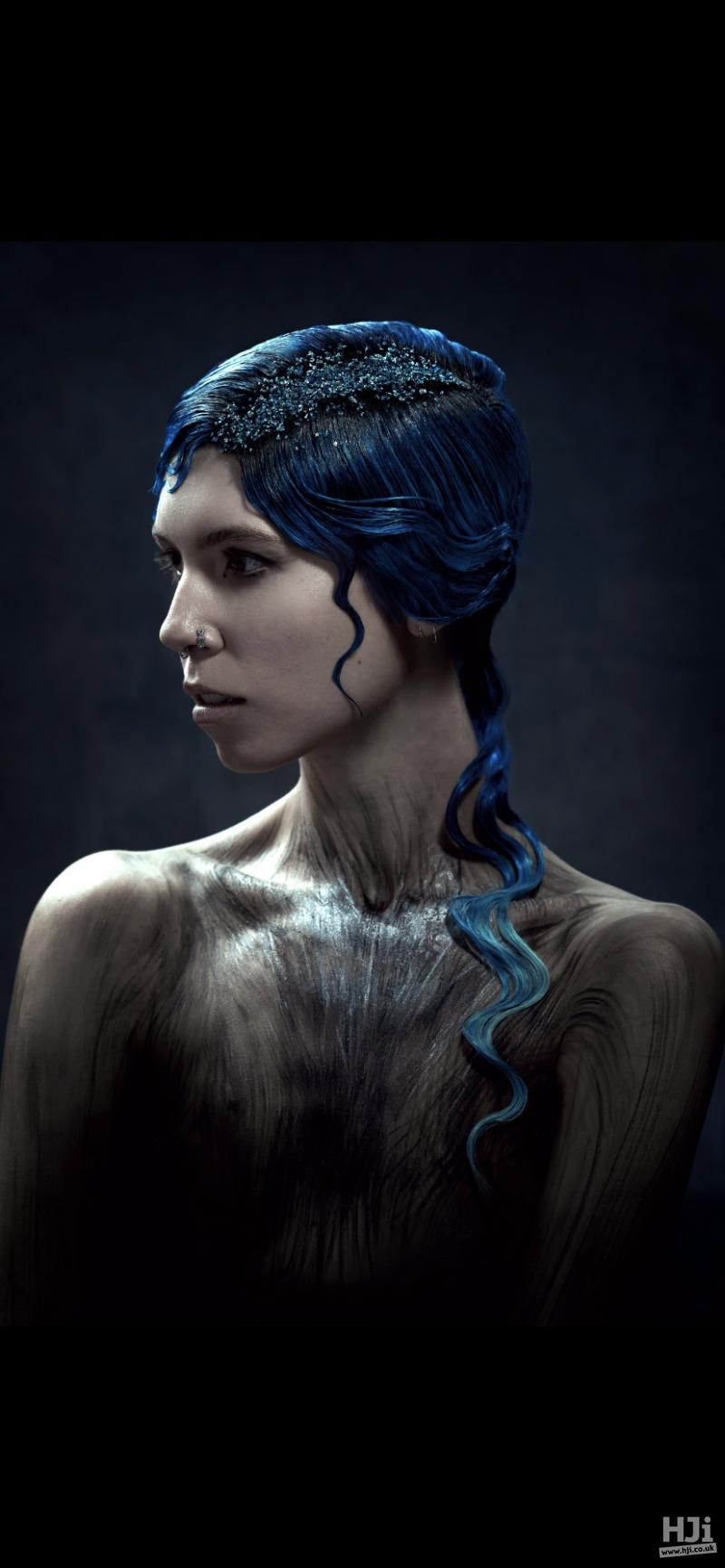 Deep blue updo