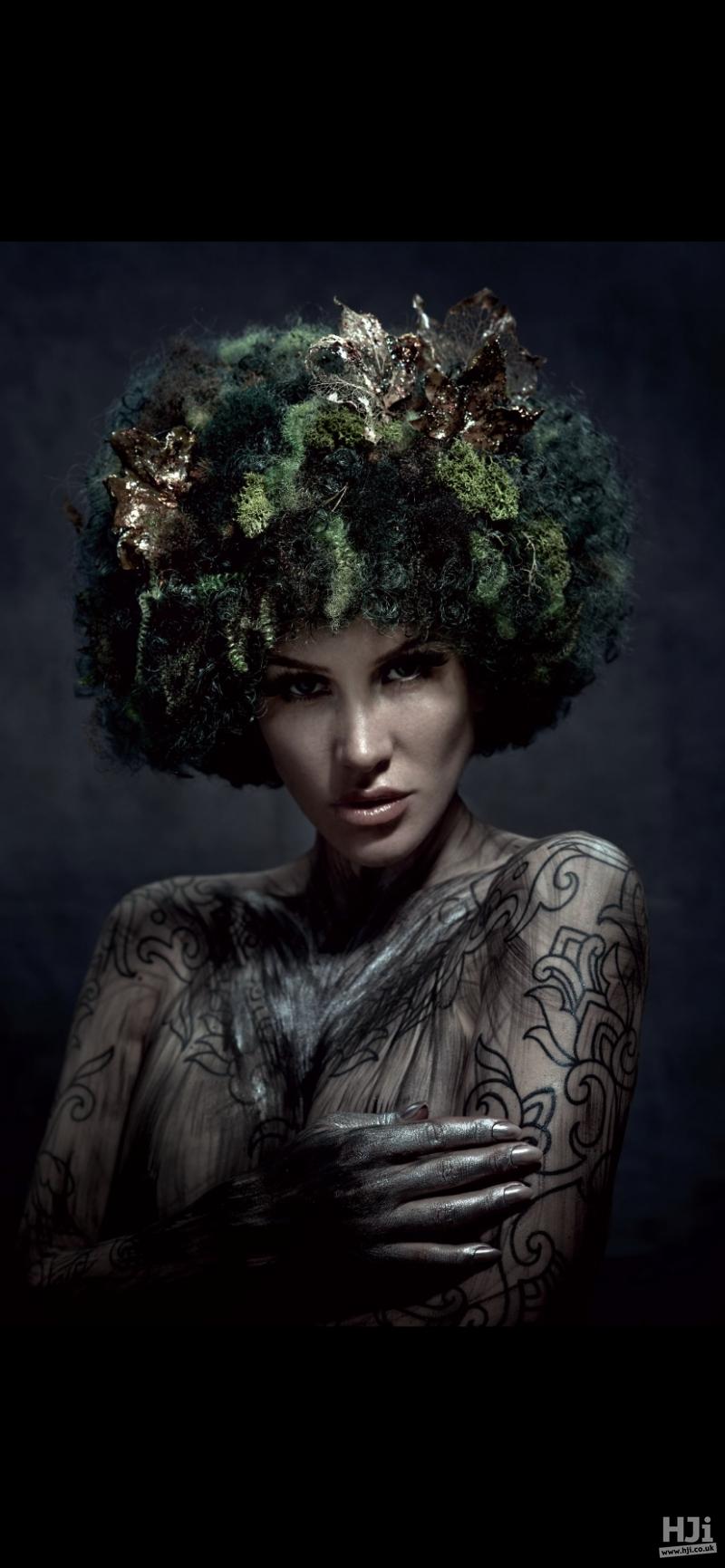 Dark green curls