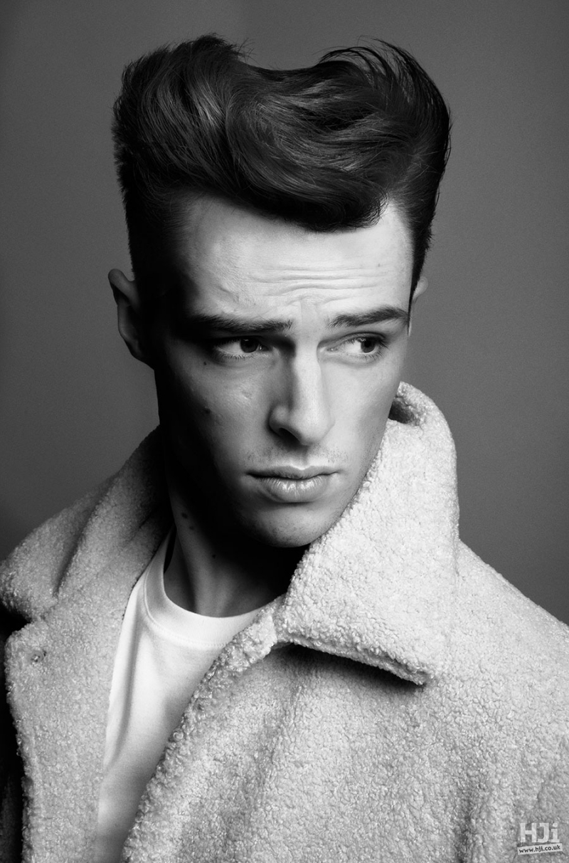 Short editorial haircut styled in a quiff