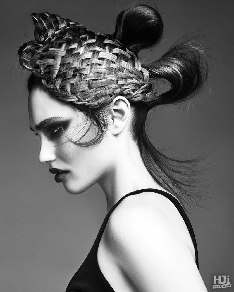 Avant-garde textures and ponytails