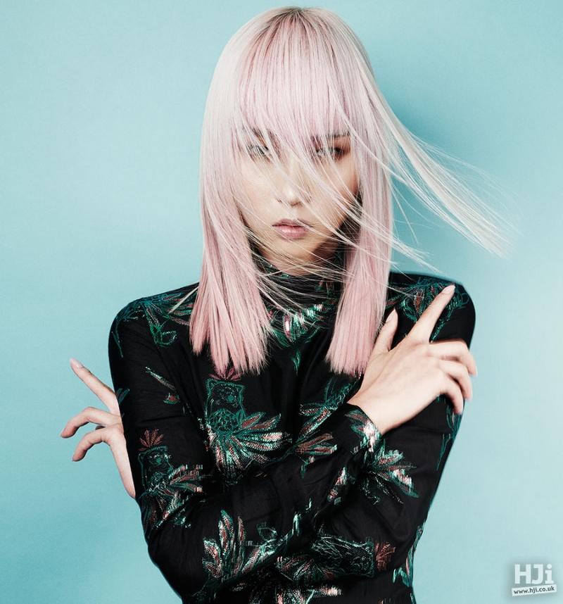 Mid-length, straight,  pastel pink, fringe