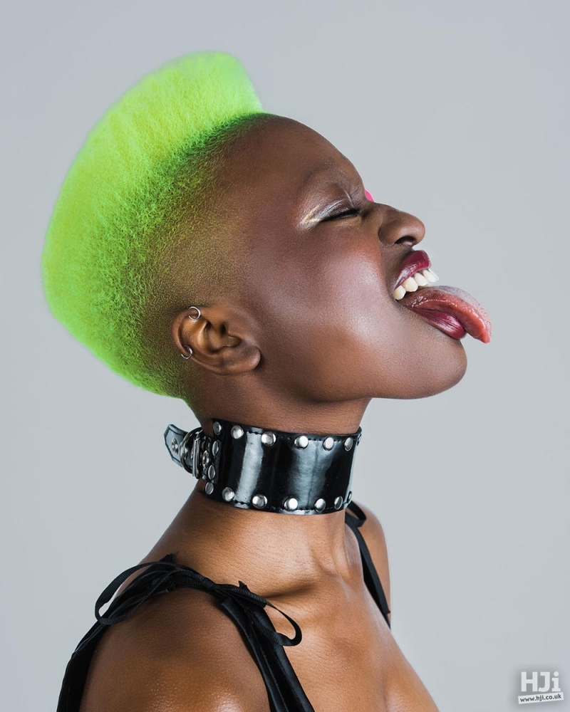 Light green hair with skin fade