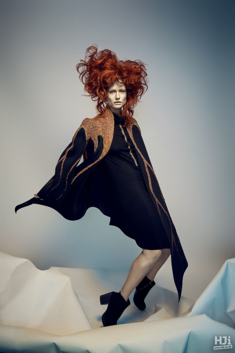 Red avant-garde style with waves