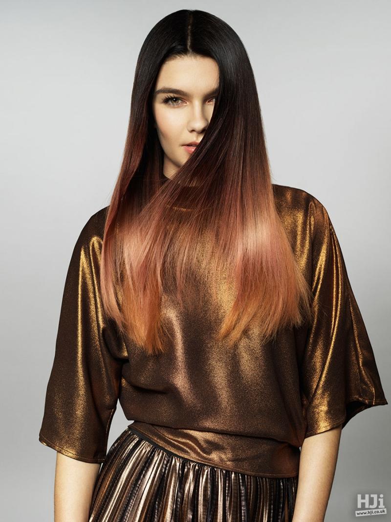 Long mahogany and copper balayage hairstyle