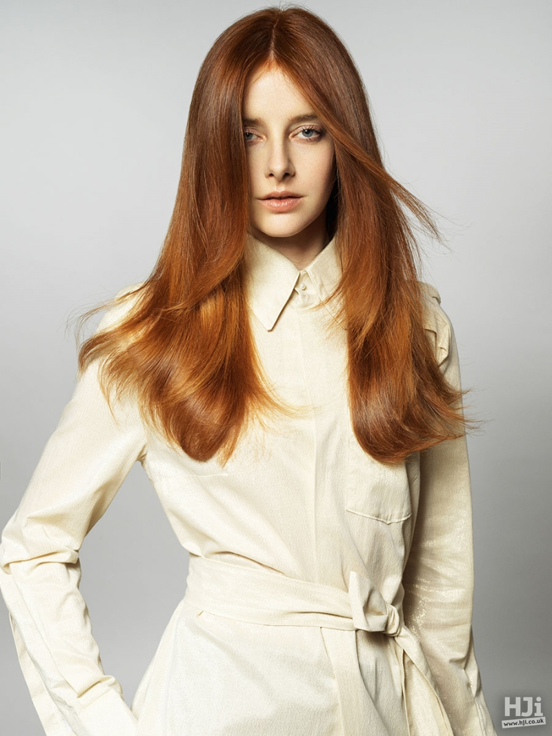 Straight long redhead with highlights hairstyle
