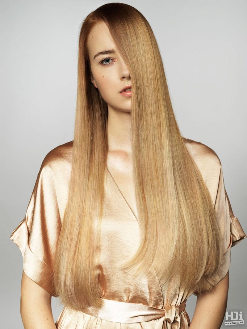 Sleek balayage blonde hairstyle