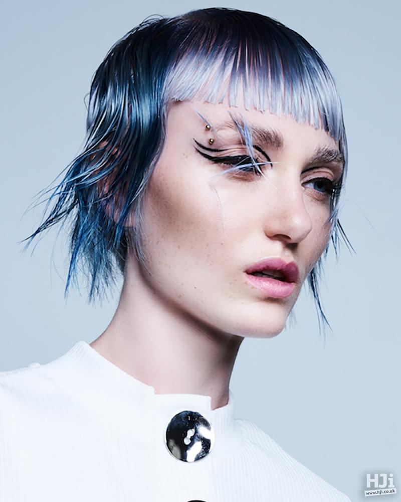 Sharp cut multi-blue fringe