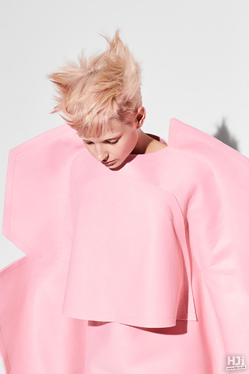 Light pink pixie crop
