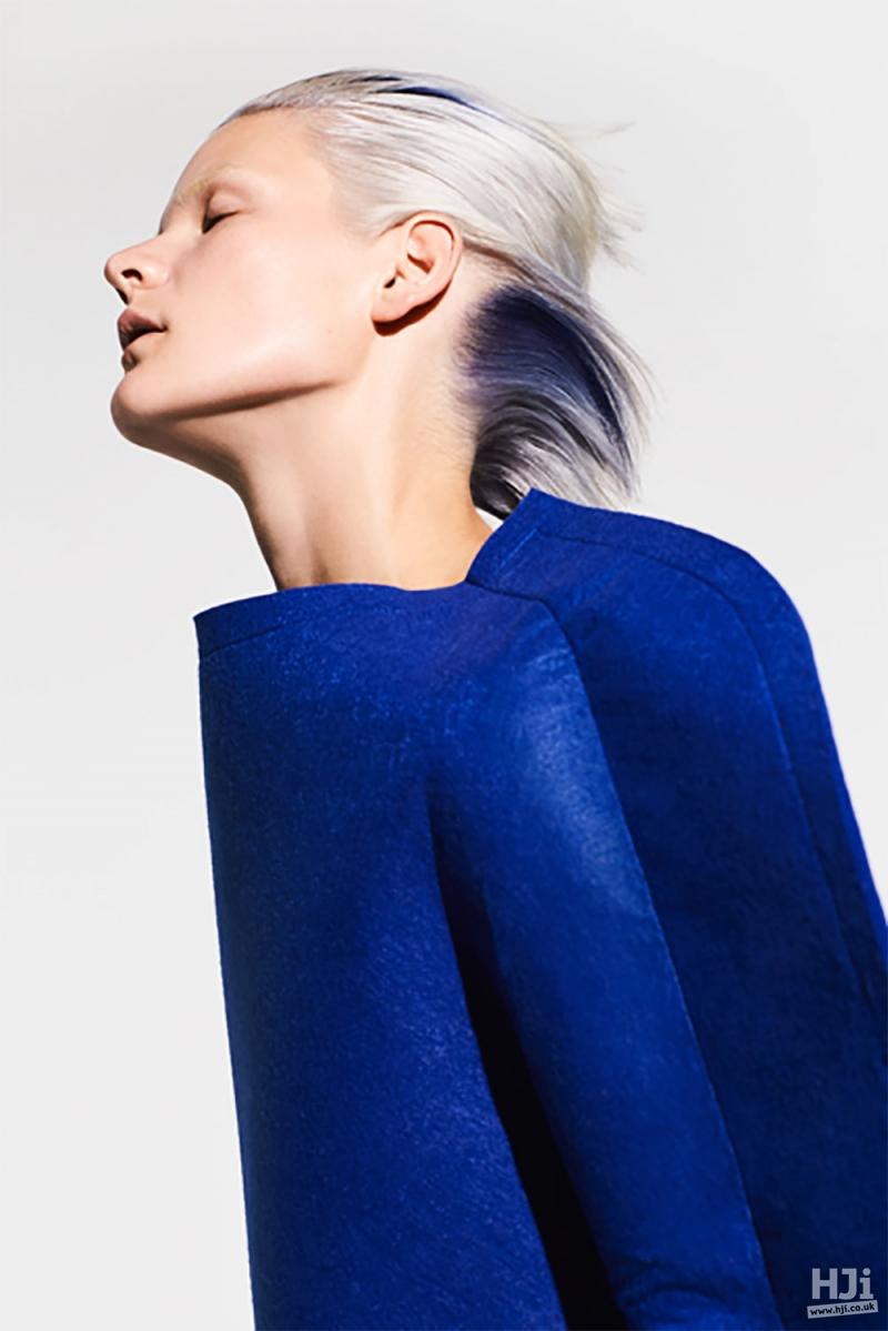 Sleek platinum hair