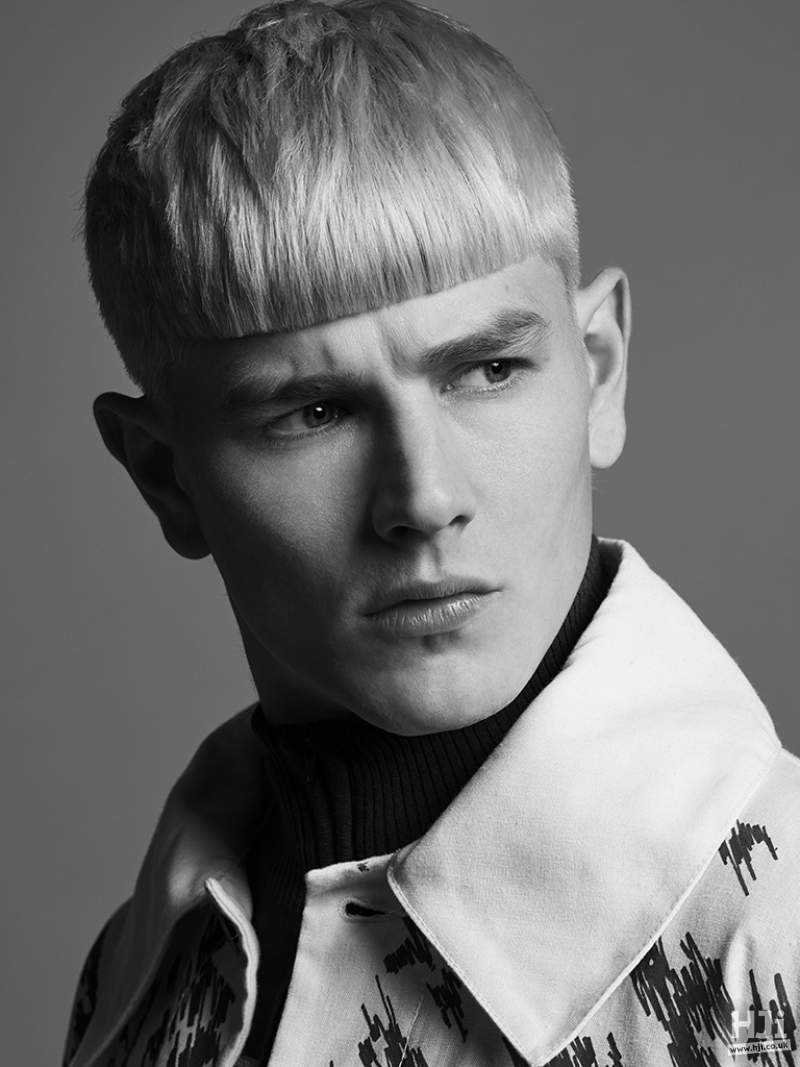 Blonde mens crop with blunt cut fringe